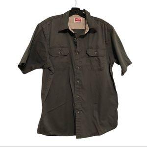 Wrangler SS Button Down Shirt, Dk Grey, Size L